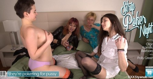 Barbara 41, Kamilla 19, Olga C 57, Polly Green 18 - Four Old And Young Lesbians Playing Poker For Pussy [SD]